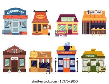 European and Oriental food restaurant buildings facades set of flat vector illustrations isolated on white background. Cafeteria, pub and bistro street food cafes fronts.