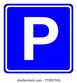 European PARKING AREA sign in blue square. Vector.
