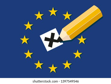 European Parliament election concept. Pencil making a cross at voting ballot with EU stars and flag in background.