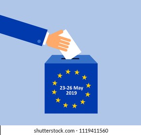 European parliament election on May 2019 - voter is voting and election during EU parliamentary ballot. Democratic selection and choice of politicians. Vector illustration
