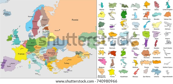 European Political Map Countries Capitals Stock Vector ...