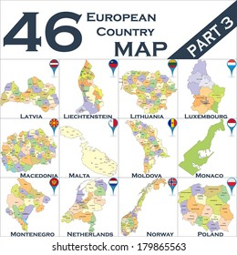 European political map set with map pointers - Part