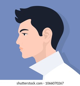 European profile of a man. Portrait of a guy. Avatar. Vector Flat Illustration