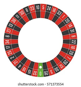 European roulette wheel. Gambling concept. Top view. Casino Roulette Wheel isolated on white background. Vector illustration. EPS 10.