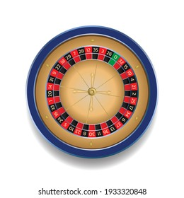 European roulette wheel online casino in blue and gold colors. Realistic style vector illustration isolated on white background.