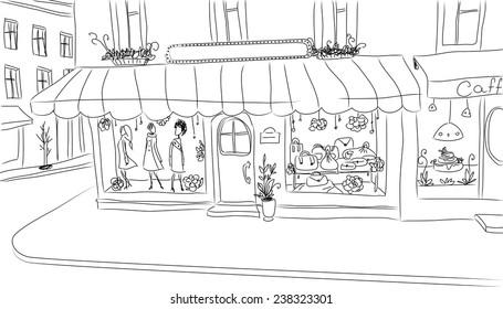 European sidewalk with fashion shop. Hand drawn clean sketch.
