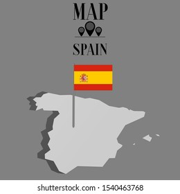 European Spain outline world map silhouette vector illustration, creative design background, national country flag, objects, element, symbols from countries all continents set.
