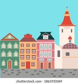 European street. Lviv city. West european styled buildings. Facades with doors, windows and design elements. Christian church. Vector design for card, wallpaper.