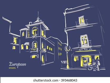 European streets Italy night sketch
