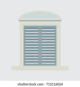 European style window with shutters.