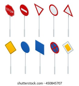 European traffic signs collection. Signs of danger, Mandatory, obligations. Flat 3d vector isometric concept.