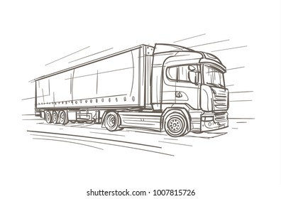 European Truck Hand Drawn. Vector.