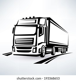 european truck outlined vector symbol