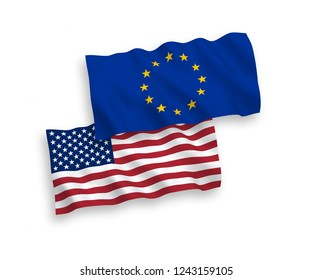 European Union and American flags isolated on white background. Vector illustration of the EU und USA flags waving
