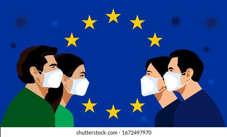 European Union: blue flag with golden stars. Pandemic 2019-nCoV. Quarantine in the European Union. People in white medical face mask. Vector illustration.