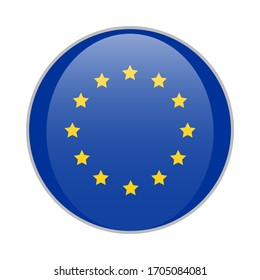 European union blue round badge with yellow stars EU product sign vector illustration isolated on white background.