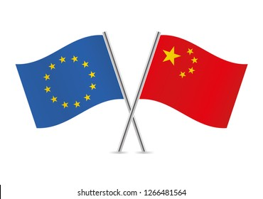 European Union and Chinese flags. Vector illustration.