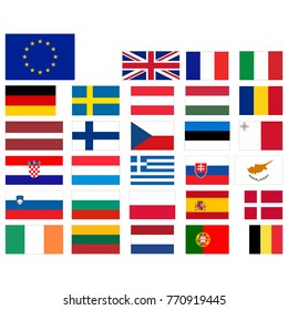European Union, countries official flags. Colors and proportions correctly. Abstract concept. Vector illustration on white background.
