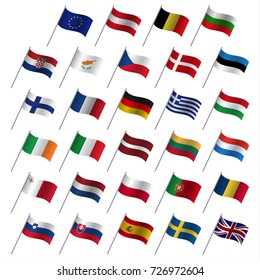 European Union country flags, member states EU, flaming flags isolated on a white background