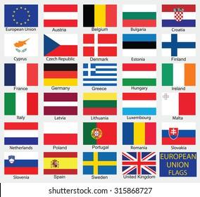 European Union country flags,member states EU
