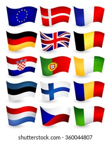 European Union country flying flags part 1.All elements are separated in editable layers clearly labeled.
