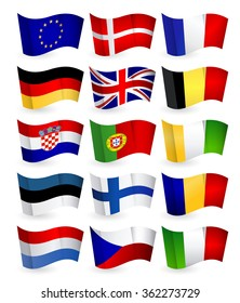 European Union country flying flat flags pack set 1.All elements are separated in editable layers clearly labeled.