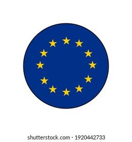 European Union (EU) blue flag with yellow stars in circle vector push button.