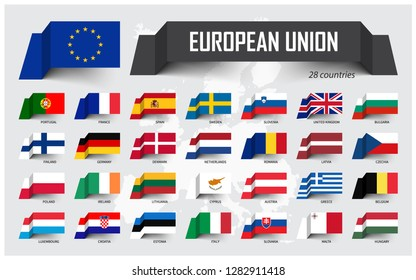European Union. EU and membership. Association of 28 countries. Floating paper flag design on Europe map background. Vector .