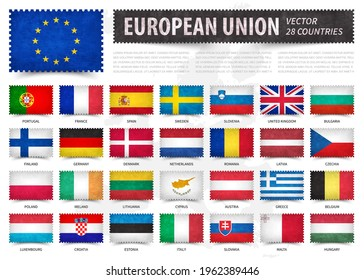 European union . EU . And membership country flag . Stamp shape with grunge paper texture . White isolated background with europe map . Element vector .