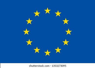 European Union EU official flag symbol icon flat vector