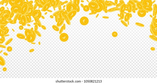 European Union Euro coins falling. Scattered floating EUR coins on transparent background. Fancy falling rain vector illustration. Jackpot or success concept.