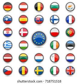 European Union Flag Button Vector Art Round Design