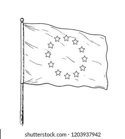 European Union flag drawing - vintage like illustration of flag of EU. Monochromatic banner contour on white background.