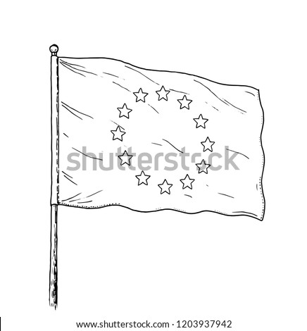 44acdfaf94e1c European Union flag drawing - vintage like illustration of flag of EU.  Monochromatic banner contour
