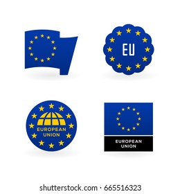European Union flag, EU emblem and national symbols