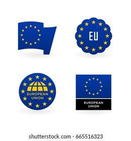 European Union flag, EU emblem and national symbols