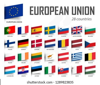 European Union flag . EU and membership . Europe map background . Vector .