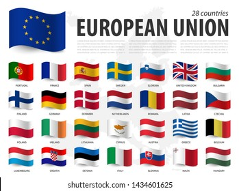 European union flag ( EU ) and membership on europe map background . Waving flag design . Vector .