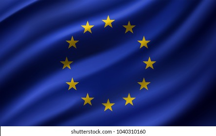 European Union flag , EU flag in Vector Illustration