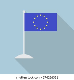 European Union flag with flagpole flat icon with long shadow. Vector illustration EPS10