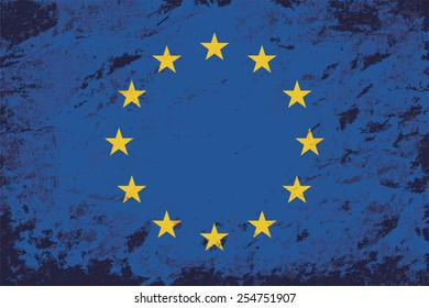 European Union flag. Grunge background. Vector illustration