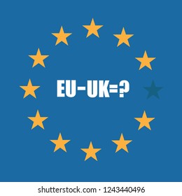 European Union flag with mathematical formula questioning subtracting the UK from the EU. EPS 10 vector.
