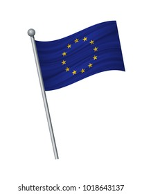 European Union flag on the flagpole. Official colors and proportion correctly. waving of European Union flag on flagpole, vector illustration isolate on white background.