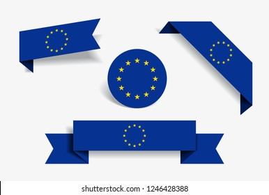 European Union flag stickers and labels set. Vector illustration.