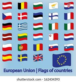 European Union Flags of Countries Waving