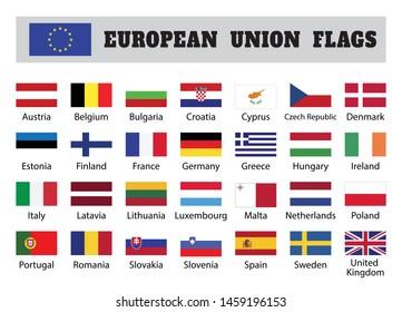 European union flags, twenty eight (28) European member countries