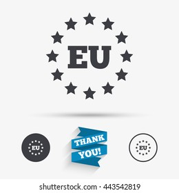 European union icon. EU stars symbol. Flat icons. Buttons with icons. Thank you ribbon. Vector