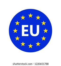 European union logo. Vector illustration. EU flag icon with round stars