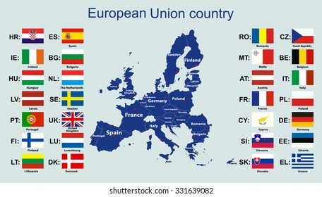 The European Union map and all the countries flags of the member countries of the European Union