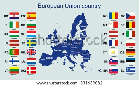 European Union Map All Countries Flags Stock Vector Royalty Free
